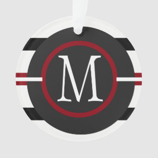 Elegant Red, White & Black Lines With Monogram Ornament