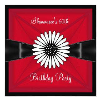 "Elegant Red White Flower Black 60th Birthday Party 5.25"" Square Invitation Card"