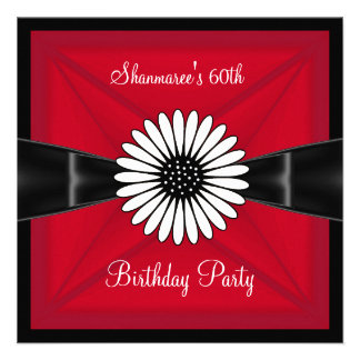 Elegant Red White Flower Black 60th Birthday Party Custom Announcements