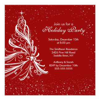 Elegant Red White Holiday Christmas Party Personalized Announcement