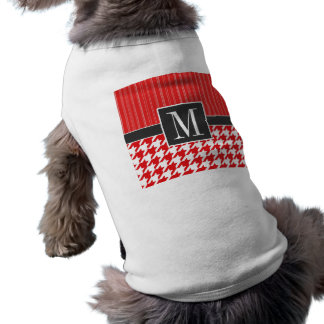 Elegant Red White Houndstooth Doggie Tee Shirt
