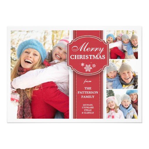 Elegant  Red & White Snow 4 Photo Greeting Card