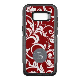 Elegant Red Wine Floral Wallpaper Swirl Monogram OtterBox Commuter Samsung Galaxy S8+ Case