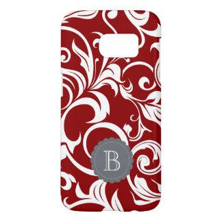 Elegant Red Wine Floral Wallpaper Swirl Monogram Samsung Galaxy S7 Case