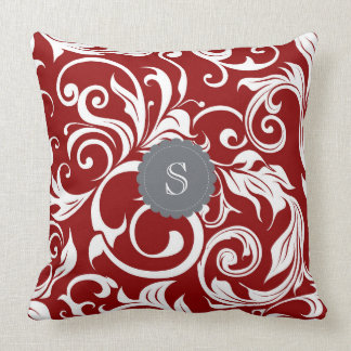 Elegant Red Wine Floral Wallpaper Swirl Monogram Throw Pillow