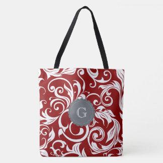 Elegant Red Wine Floral Wallpaper Swirl Monogram Tote Bag