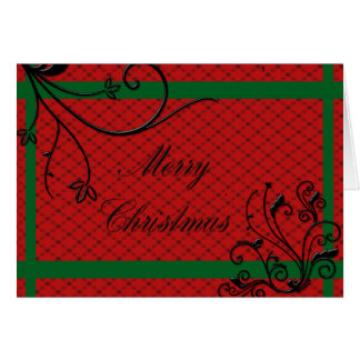 Elegant Red with Black embossed Swirls Christmas Card