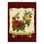 Elegant Red Yellow Roses Damask Vintage Cutouts Greeting Card