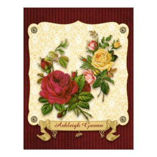 Elegant Red Yellow Roses Damask Vintage Cutouts Letterhead