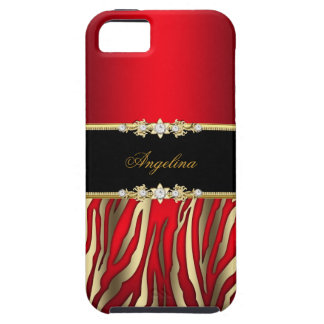 Elegant Red Zebra Black Gold iPhone 5 Case