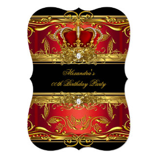 "Elegant Regal Red Black Gold Queen Birthday Party 5"" X 7"" Invitation Card"