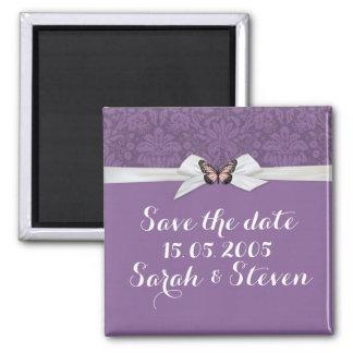 Elegant Regal Tudor Damask Save the date Refrigerator Magnets