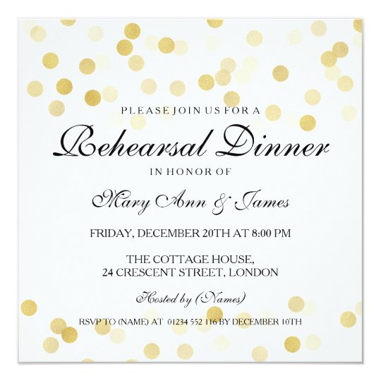 Elegant Rehearsal Dinner Gold Foil Glitter Lights Card