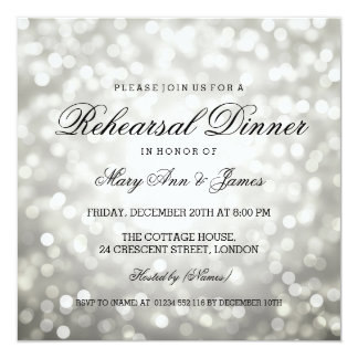 Elegant Rehearsal Dinner Silver Glitter Lights Card
