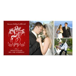 Elegant Reindeer Christmas Photo Collage Card Photo Card Template