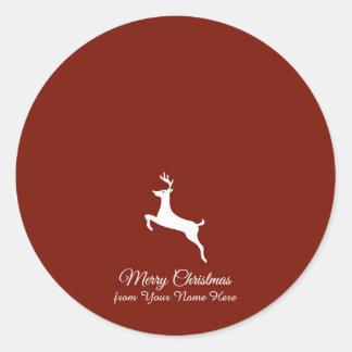 Elegant Reindeer Silhouette Christmas Greetings Classic Round Sticker