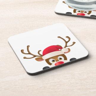 Elegant Reindeer with Santa Hat | Coaster