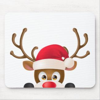 Elegant Reindeer with Santa Hat | Mousepad
