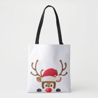 Elegant Reindeer with Santa Hat Tote Bag