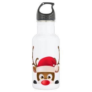 Elegant Reindeer with Santa Hat Water Bottle
