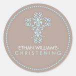 Elegant Religious Celebration Cross in Blue Round Stickers