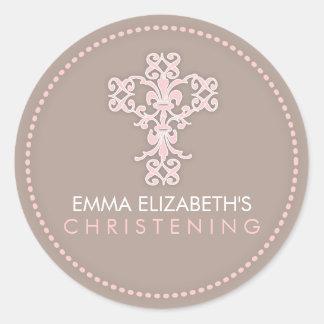 Elegant Religious Celebration Cross in Pink Classic Round Sticker