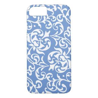 Elegant Renaissance Tudor Damask Blue and White iPhone 8/7 Case