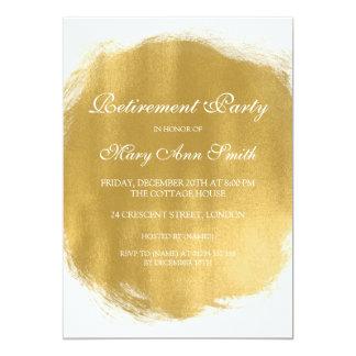 "Elegant Retirement Party Gold Paint Look 5"" X 7"" Invitation Card"