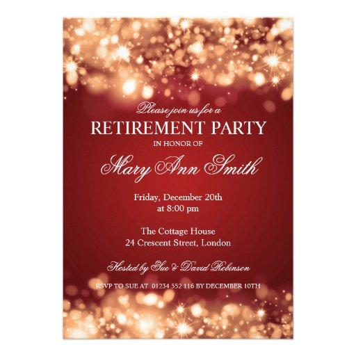 Elegant Retirement Party Gold Sparkling Lights Custom Invites