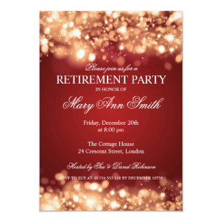 Elegant Retirement Party Gold Sparkling Lights 5x7 Paper Invitation Card