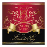 "Elegant Retirement Party Invitation Red Gold Bl 5.25"" Square Invitation Card"