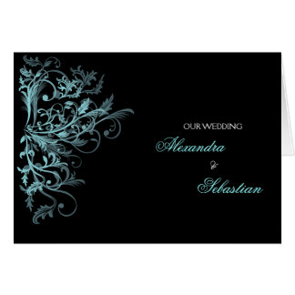 Elegant Retro Aqua Flower Swirl Wedding Invitation