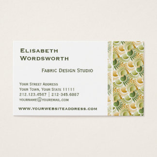 Elegant Retro Art Deco Gold and Green Tropical Business Card
