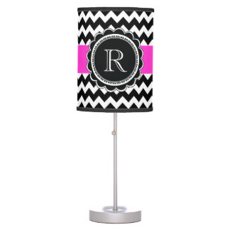 Elegant Retro Black Hot Pink Monogram Chevron Table Lamp