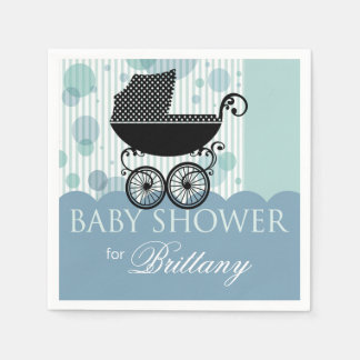 Elegant Retro Carriage Baby Shower Party blue Disposable Napkins