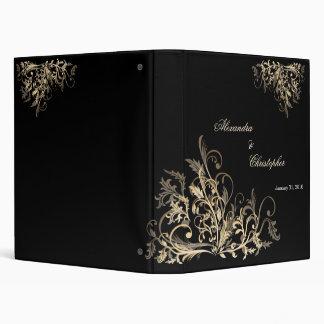 Elegant Retro Gold Flower Swirls Album Binder