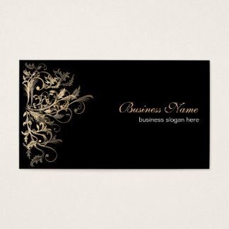 Elegant Retro Gold Flower Swirls Business Card