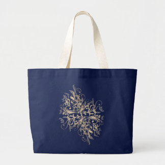 Elegant Retro Gold Flower Swirls Large Tote Bag