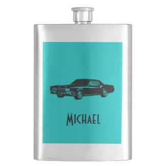 Elegant retro old classy car personalized turquois flasks