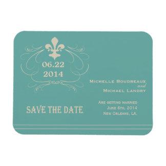 Elegant Retro Style Fleur de Lis Save the Date Rectangular Photo Magnet