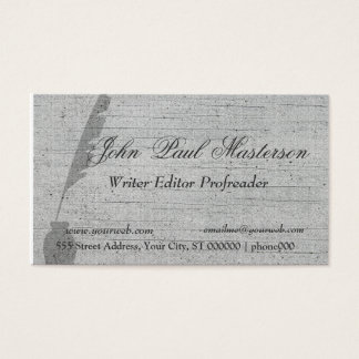 Elegant Retro Vintage Feather Quill Writer Business Card