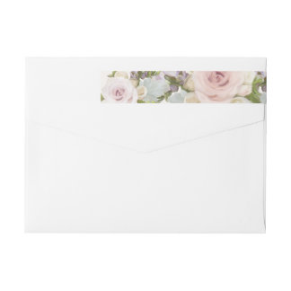 Elegant Return Address Wedding Lavish Roses Floral Wrap Around Label