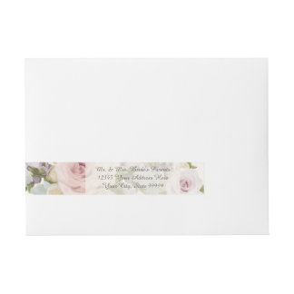Elegant Return Address Wedding Lavish Roses Floral Wraparound Address Label
