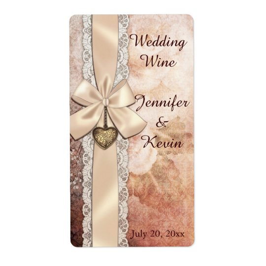Elegant Ribbon and Floral Wedding Mini Wine Labels