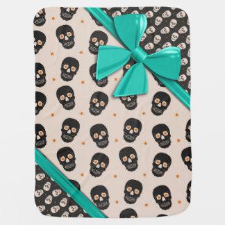 Elegant Ribbons and Skulls Halloween Receiving Blankets