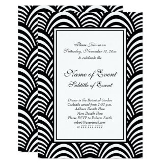Elegant Roaring 20s Black and White Jazz Party Card