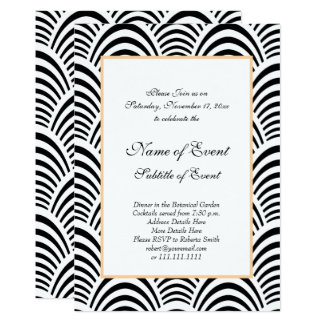 Elegant Roaring 20s Black and White Jazz Wedding Card