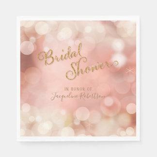 Elegant Romantic Bokeh Sparkle Blush Pink Bridal Disposable Napkin
