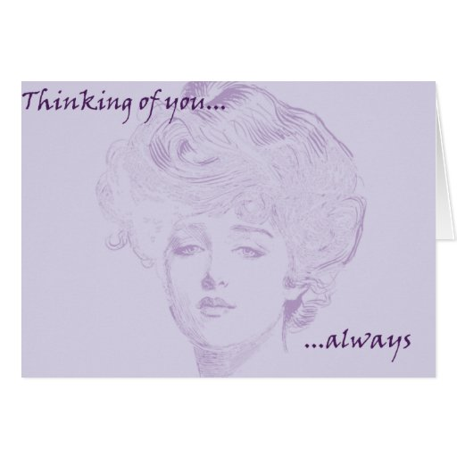 Elegant Romantic Gibson Girl Lavendar Note Card