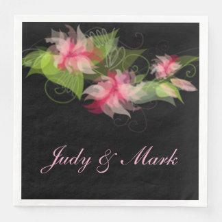 Elegant Romantic Pink Flower Paper Napkins